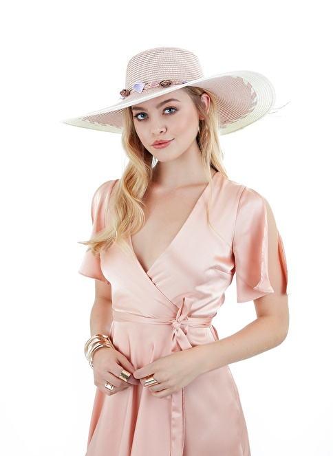 Laslusa İçten Ayarlanabilir Aksesuarli Hasır Geniş Kenar Şapka Pembe